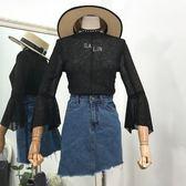 夏季新款韓修身顯瘦上衣刺繡字母喇叭袖甜美百搭針織衫女