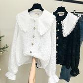 長袖襯衫 娃娃領白襯衫蕾絲打底衫很仙的上衣長袖寬鬆百搭洋氣復古雪紡襯衣 魔法空間