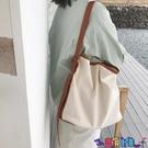 子母包 韓國新款子母包簡約百搭帆布包女斜背側背水桶包大容量購物袋寶貝計畫 上新