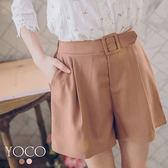 東京著衣【YOCO】焦糖美人直紋假腰帶打褶短褲-S.M.L(180182)