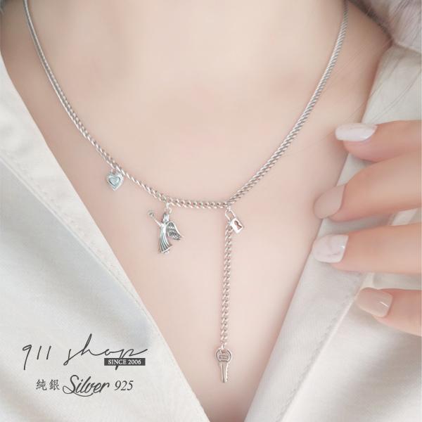 Lacuna.925純銀小天使心鎖鑰匙層次多垂墜短項鍊鎖骨鍊【s354】911 SHOP