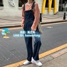 韓版chic寬鬆寬版口袋背帶牛仔褲女裝褲子春裝復古休閑顯瘦闊腿褲【風之海】