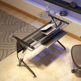 電腦桌簡約現代電競桌子鋼化玻璃台式家用辦公桌xw 【快速出貨】