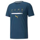 PUMA AH21 LOGO 男裝 短袖 T恤 休閒 吸汗快乾 反光 歐規 藍【運動世界】52085565