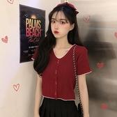 夏季2020新款bm風針織衫短袖甜美t恤女修身短款上衣設計感女小眾 草莓妞妞