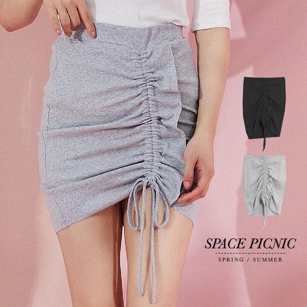 短裙 Space Picnic|現+預.抽繩素面抓皺腰鬆緊短裙【C19031066】