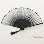 扇子 折扇中國風舞蹈扇女夏季折疊扇古裝日式小復古布古典古風折扇 6色