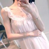 吊帶睡裙 夏冰絲性感蕾絲純棉公主風韓版甜美學生帶胸墊中裙