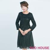 【RED HOUSE 蕾赫斯】蕾絲點點百褶洋裝(黑色)