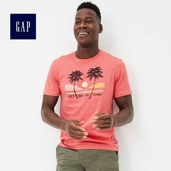 Gap男裝 時尚印花圓領短袖T恤 444196-西瓜紅