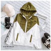 Catworld 雙色文字袖防風連帽運動外套【15003518】‧F/XL