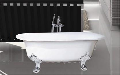 【麗室衛浴】BATHTUB WORLD H-523  高級獨立式鑄鐵浴缸 長152*寬79*高61.5CM