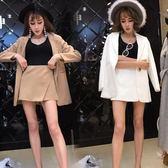 正韓名媛氣質中長款西裝外套 不規則半身裙褲套裝女