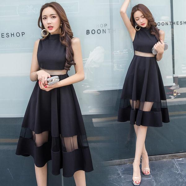 洋裝 韓版 性感透視網紗拼接無袖連衣裙 小禮服