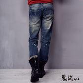 【5折限定】刷破車線低腰直筒褲 - 鬼洗 BLUE WAY
