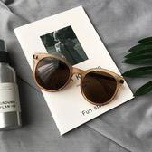 ulzzang韓版時尚圓框磨砂茶色墨鏡新款高檔質感太陽鏡女復古墨鏡 英雄聯盟