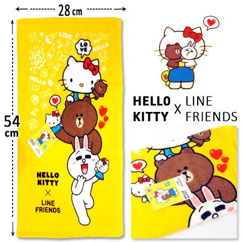 Hello Kitty x Line Friends 純棉童巾 疊疊樂款 三麗鷗 Sanrio
