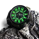 Tendence 天勢表 / TY531002 / 立體刻度 酷炫LED 礦石強化玻璃 防水100米 矽膠手錶 黑x軍綠 51mm