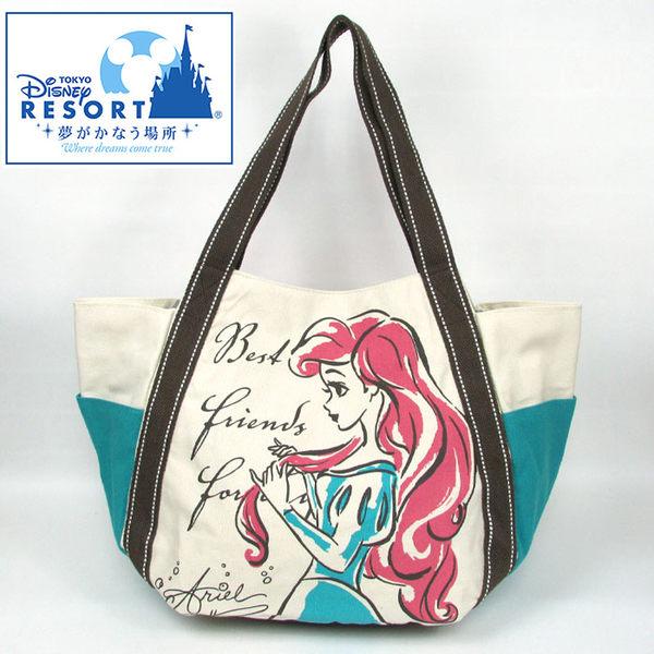 日本直送 小美人魚 帆布包/南瓜包/肩背包 大容量 迪士尼  該該貝比日本精品 ☆