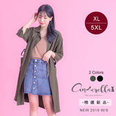大碼仙杜拉-腰間抽帶修身長版外套XL-5XL碼 ❤【MCX1015】(預購)