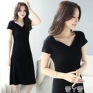 短袖洋裝黑色短袖連身裙女夏氣質2020年新款修身顯瘦法式慵懶風v領a字長裙