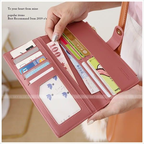 皮夾-簡約吸磁插釦皮革長夾-共7色-A08081003-天藍小舖