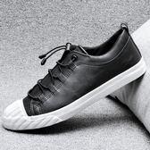 男鞋子 休閒鞋 秋冬休閒皮鞋低幫貝殼鞋百搭潮流鬆緊帶學生韓版板鞋《印象精品》q1862