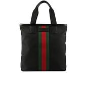 【GUCCI】綠紅織帶牛皮飾邊帆布手提包(黑色) 631245 KWT7N 1060