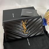 【雪曼國際精品】YSL MONOGRAM系列V字縫線魚子醬牛皮金屬金色LOGO暗釦手拿長夾(黑)─新品現貨