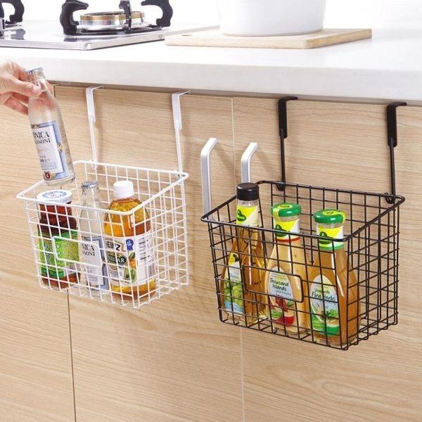 日式鐵藝收納籃廚房免打孔掛籃置物籃浴室衛生間掛式置物架儲物【果果新品】