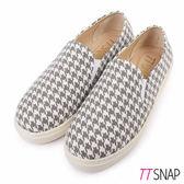 厚底樂福鞋-TTSNAP MIT百搭千鳥格紋真皮休閒鞋 千鳥灰