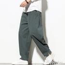 中國風男褲子寬鬆亞麻長褲休閒春夏季薄款直筒棉麻寬管哈倫褲燈籠 黛尼時尚精品