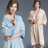 日式和服短袖純棉男女士睡袍加肥加大情侶浴袍棉麻浴衣薄萊爾富免運