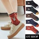 [現貨] 襪子 中筒襪 秋冬保暖 羊毛混紡 撞色 可愛卡通圖案 麋鹿頭 聖誕禮物 穿搭配件 M1059 OT SHOP