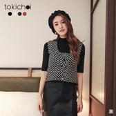 東京著衣-tokichoi-法式浪漫滿版線條排釦多色小背心/上衣(191271)