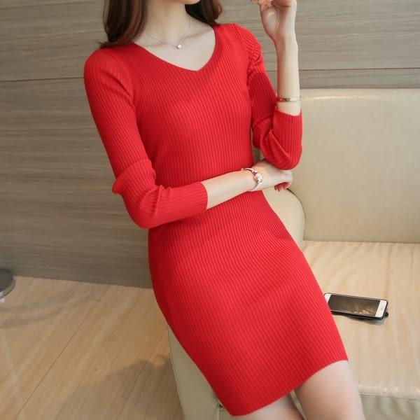 【GZ43】針織連身裙 2018長袖包臀純色中長款打底衫新款V領針織連身裙