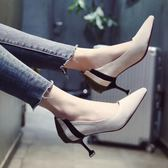 尖頭單鞋女春季2018新款韓版百搭高跟鞋性感