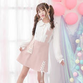 森女甜美格子背帶裙軟妹裙子高腰短裙學生粉色半身裙