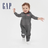 Gap嬰兒 LOGO迪士尼開襟連帽包屁衣 615654-煙灰色