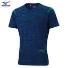 MIZUNO 男裝 短袖 上衣 慢跑 路跑 吸汗快乾 下擺印花 藍【運動世界】K2TA000122
