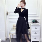 連身裙女春季2019新款時尚氣質淑女大氣掛脖拼接網紗假 伊蒂斯女裝