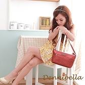 【南紡購物中心】【Dennibella 丹妮貝拉】牛皮斜背編織包-紅