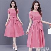 露肩洋裝 連身裙女2021年夏季新款修身收腰顯瘦氣質輕熟風露肩格子夏天裙子 曼慕