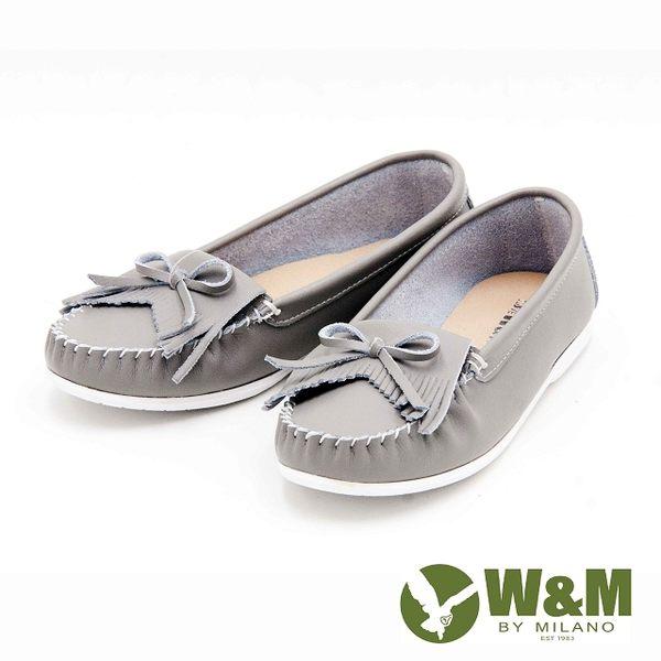 W&M  休閒蝴蝶結平底女鞋-灰(另有白、藍)