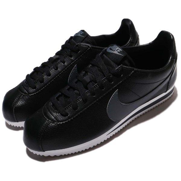 Nike 阿甘鞋 Classic Cortez Leather 黑 灰 白底 皮革 男鞋 女鞋 經典款 復古慢跑鞋 【PUMP306】 749571-011