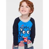 Gap男幼童 棉質舒適套頭長袖T恤522815-微風藍