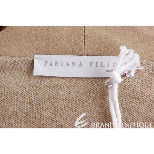 FABIANA FILIPPI 淺咖色垂領針織上衣(附腰帶) 1140110-40