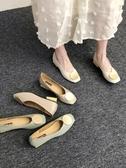 復古奶奶鞋粗跟單鞋女低跟豆豆鞋秋款OL方頭圓頭韓版淺口瓢鞋