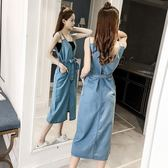 2018夏季女裝新款歐美背帶長裙V領露背寬鬆吊帶長款牛仔連衣裙女 雙12鉅惠 聖誕交換禮物