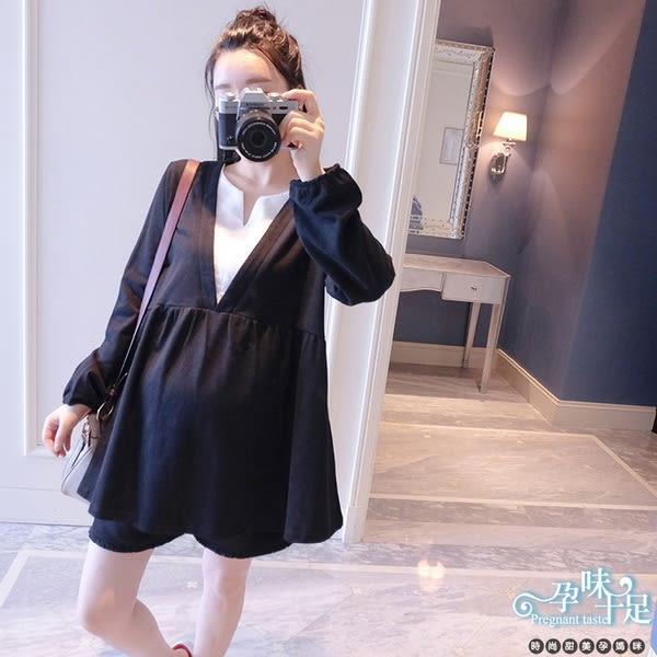 現 舒適寬鬆V領造型顯瘦修身孕婦上衣 兩色【CNH8662】孕味十足。孕婦裝
